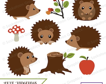 Cute Woodland Hedgehog Clipart - Instant Download File - Digital Graphics - Cute - Crafts, Web, Party - Commercial & Personal Use - #A029