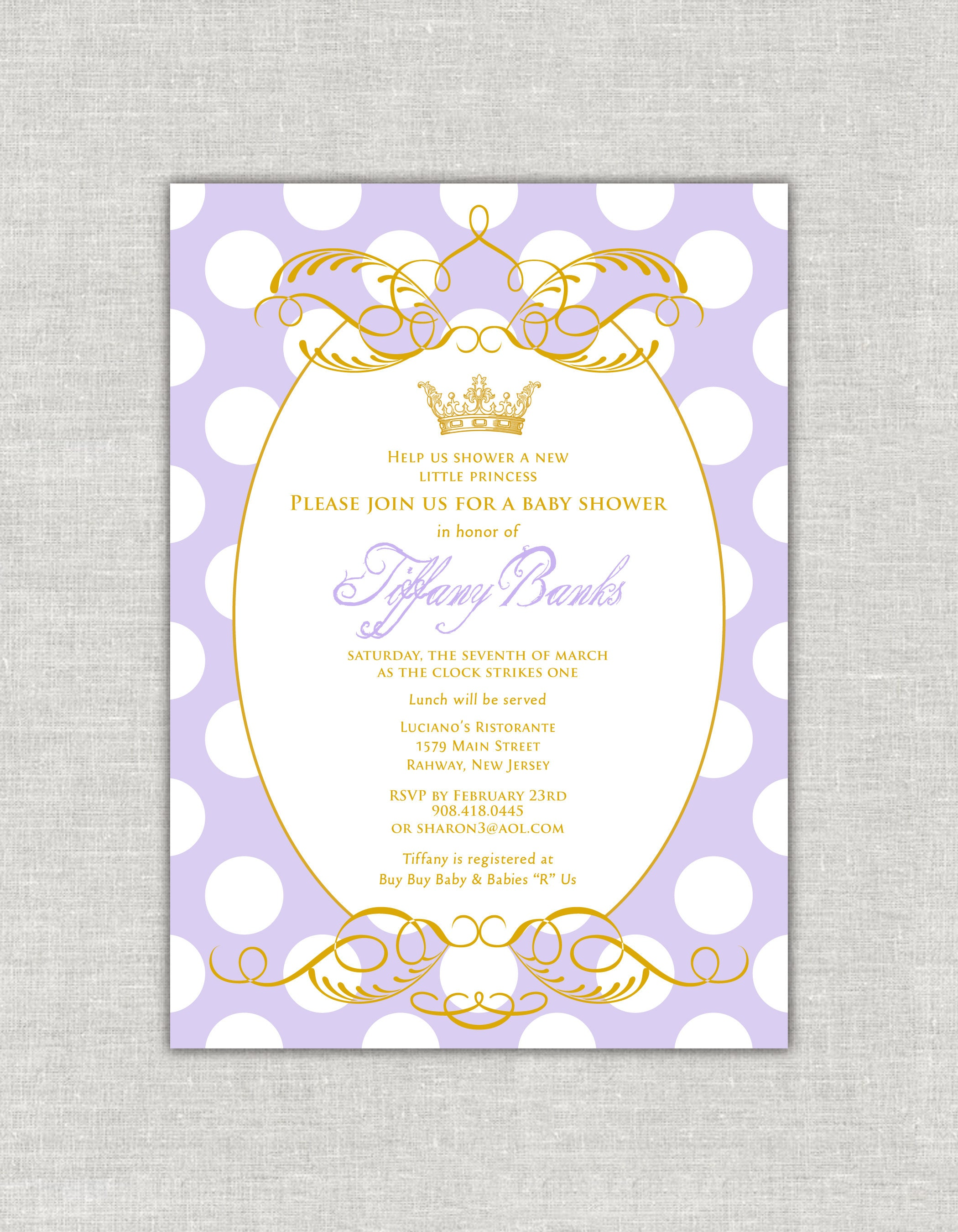 Princess Baby Shower Invitation Lavender and Gold Baby Shower