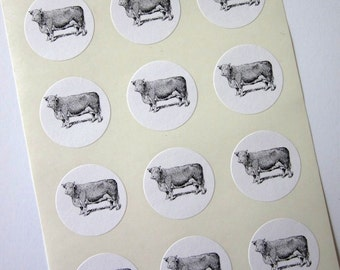 Cow Stickers One Inch Round Seals