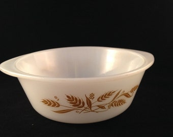 Vintage Wheat Pattern on White Glass Casserole Dish