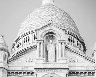 Sacre Coeur Basilica - Black and White Art Print - Paris