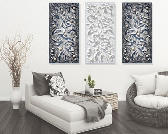 Black and White Painting, Textured Wall Art Canvas, Palette Knife Art, Large Modern Abstract Wall Art Sculpture, Set of 3, Made to Order