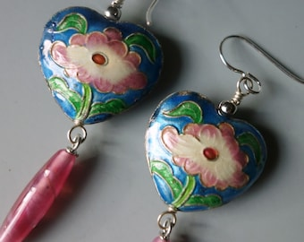 Vintage Chinese Enamel Cloisonne Earrings