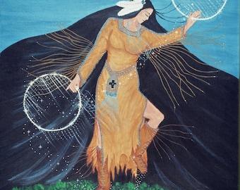 "Giclee Print Fine Art Paper Native American Print Surreal Print Metaphysical Print ""The Hoop Dancer"""