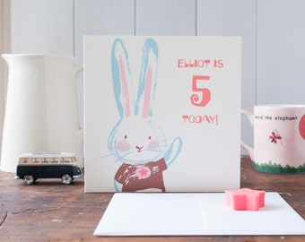 Age 4 birthday card - rabbit greeting card - personalised with any age and words - little boy birthday - bunny in t shirt - cool little boy