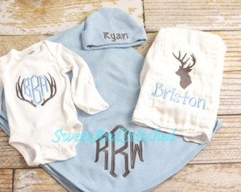 Personalized baby boy gift set, monogrammed hunting outfit, baby boy monogram, Baby boy take home outfit, camo, deer baby boy outfit