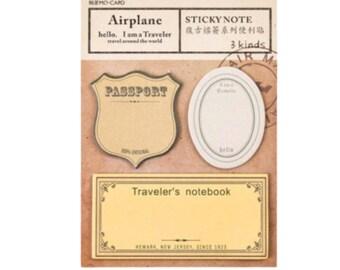 Travel Passport Stamps Sticky Notes, Post It - PJ315