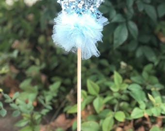 Star Glitter Star Fairy Wand-Princess Party Favors-Dress up Wand-Pom Pom wand- Costume Props-Photography Props-Blue Star wand
