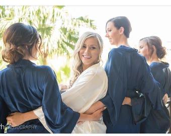 Bridesmaid robes Navy wedding robes bridesmaid silk robe dressing gown personalized silk robe kimono robe set bridal robe getting ready robe