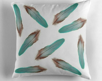 Colorful feathers © hatgirl.de |  Living room cushion with cover