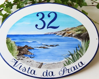 Outdoor ocean house name sign, address sign, house sign, outdoor name sign, house numbers sign, custom signs