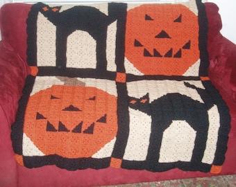 Handmade Crochet Halloween Afghan - Windows