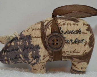 Vintage Paris pig, French Market pig, brown and tan pig, homemade pig ornaments, novelty ornaments, housewarming gift