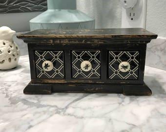 Apothecary Spice Cabinet With 3 Ceramic Drawers Storage Bin, Herbs Wood Spice Box, Tea Bag Storage, Medicine Cabinet, Item #568202759