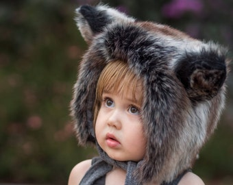 Wolf Hat/Baby Bonnet/Wolf Bonnet/fluffy hat/Faux Fur/100% cotton