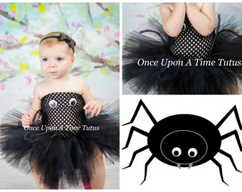Silly Spider Tutu Dress - Girls Size Newborn 6 12 Months 2T 3T 4T 5 6 7 8 10 12 - Kids Little Girl Toddler Black Arachnid Halloween Costume  sc 1 st  Etsy & Spider costume | Etsy