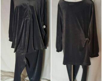 A11-Over sized jump suit or PJ-Plus size 2X-Elastic waist in pants-Matching top with buttons-Lounge wear-Soft-Maternity-Plush-Cozy-Grey