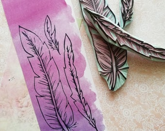 Feather rubber stamp set of three, gift set