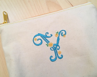 Embroidered Zipper Pouch-Dainty Daisy Initial (Made to Order)