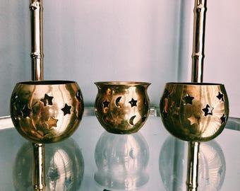 Vintage Trio of Brass Star Votives / Set of Three (3) Brass Candle Holders / Tea Light Holders