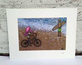Valentine's Signed mounted print surf art Surf girl Surfer couple beach theme love ' Meet you at the beach'