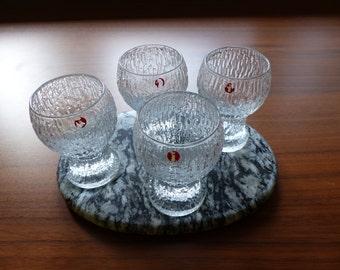 Set of 4 'Kekkerit' Shot Glasses by Finnish Designer Timo Sarpaneva for Iittala