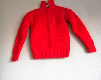 Childrens Cowichan Bright Red Well made 50's-60's