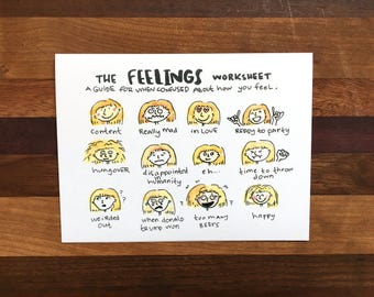 Feelings Greeting Card; Hand-painted Greeting Card; Feelings Artwork; Just Because Greeting Card; Funny Greeting Card
