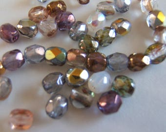 50 - Faceted 5mm Autumn Sparkle Mix Czech Glass Beads