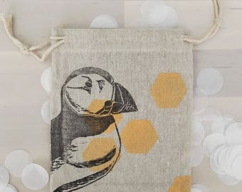 Geometric Puffin linen bag