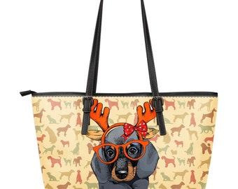 Dog lover / large leather tote bag