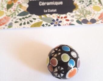 Multicolored polka dot ceramic bead