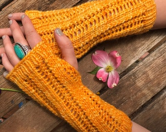 Yellow open lace glove, bright sunny arm warmer, long gloves, fingerless mitts, mesh knit glove, hand knit mitts, merino wool arm warmer