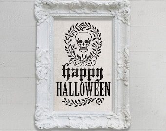 INSTANT DOWNLOAD Happy Halloween Skull Wreath PDF cross stitch pattern by Dark Crosses at thecottageneedle.com skeleton macabre