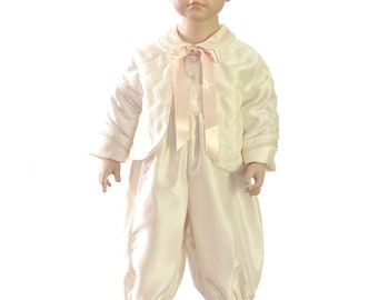 Outfit baptism boy ivory jacket and pants with a beige cream Hat 6 months to 12 months combination