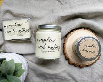 pumpkin and nutmeg - hand poured soy candle