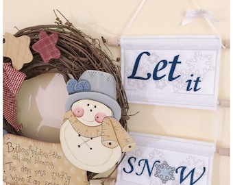 Let It Snow Sign in 2 Sizes Machine Embroidery Instant Download Design
