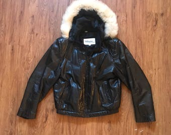 Vintage 80s 90s Faux Fur Hooded Black Leather Bomber Jacket