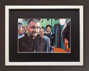 GOMORRA wall art - giclee print of 'Don Pietro' acrylic painting by Stephen Mahoney - portrait of Don Pietro Savastano from Gomorra La Serie