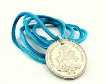 Beach Coin Necklace | 38th Birthday Gift | 1979 Bahamas Coin Necklace | Flamingo Coin Necklace | Turquoise Leather Cord | Aqua Boat Jewelry