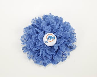 Miami Dolphins Honeycomb Lace Dog Collar Flower, Attachment, (Collar not included), Collar Accessory, Focus for a Cause