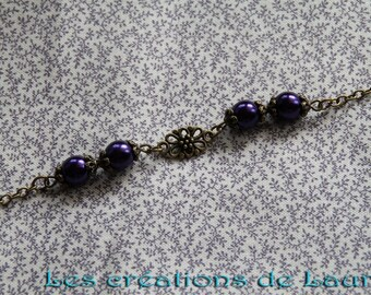 Vintage dark purple and bronze bracelet