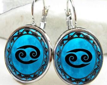 Cancer Symbol Zodiac Earrings, Cancer Horoscope Earrings (ER0461)