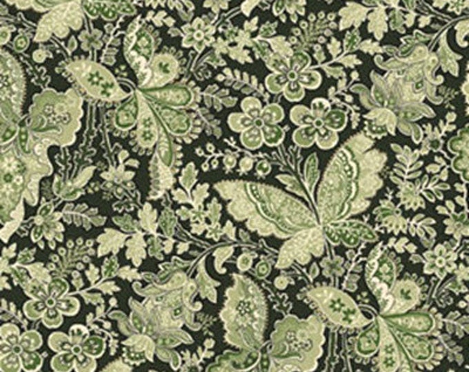 Half Yard Apple Picking Time - Butterfly Paisley in Green - Cotton Quilt Fabric - Benartex (W1818)