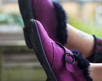 Purple Suede Buckle Vintage Boots