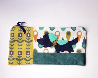 "Zipper Pouch, 4.75x9.75"" in gold, navy, teal, white and aqua printed fabric with Handmade Felt Setter Dog Embellishment, Dog Zipper Pouch"
