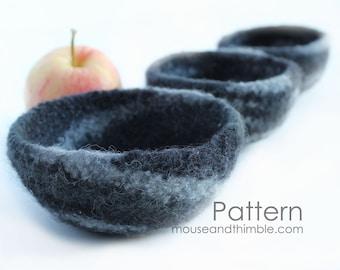 Felted Wool Nesting Bowls / Crochet PATTERN & Felting Instruction / PDF 2545