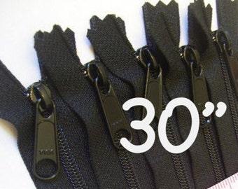 30 inch Handbag zippers with extra long pull, TEN pcs - nylon coil 4.5 - YKK black color 580