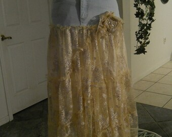 Belle Bohémienne ballroom jean skirt exquisite vintage embroidered French lace ruffled fairy Renaissance Denim Couture  Made to Order