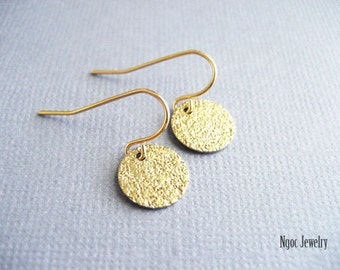 Gold Disc Earrings, Textured Coin Earrings, Petite Gold Disk Earrings, Dainty Gold Drops, Everyday, Minimalist, Simple Earrings